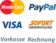 Wir akzeptieren die Zahlung per MasterCard, PayPal, Visa, Sofort Überweisung, Vorkasse und Rechnung